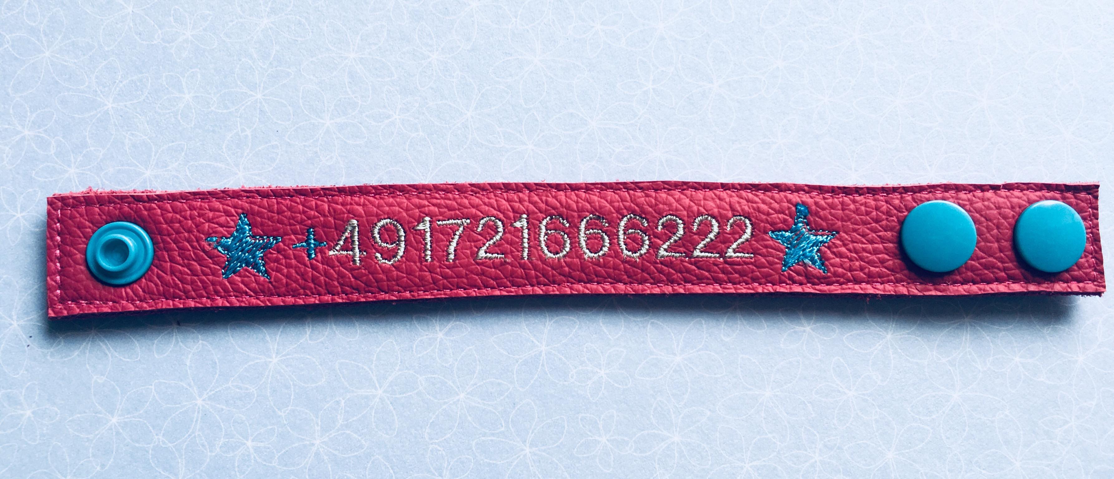 SOS Armband Rückseite mit Telefonummer